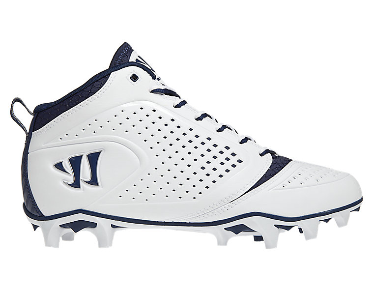 Burn Speed 5.0 Mid Cleat, White with Blue