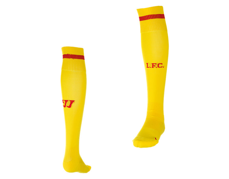 Liverpool Away Sock 2014/15, Cyber Yellow with High Risk Red