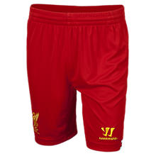 Liverpool Home Junior Short 2013/14, High Risk Red with White & Amber Yellow