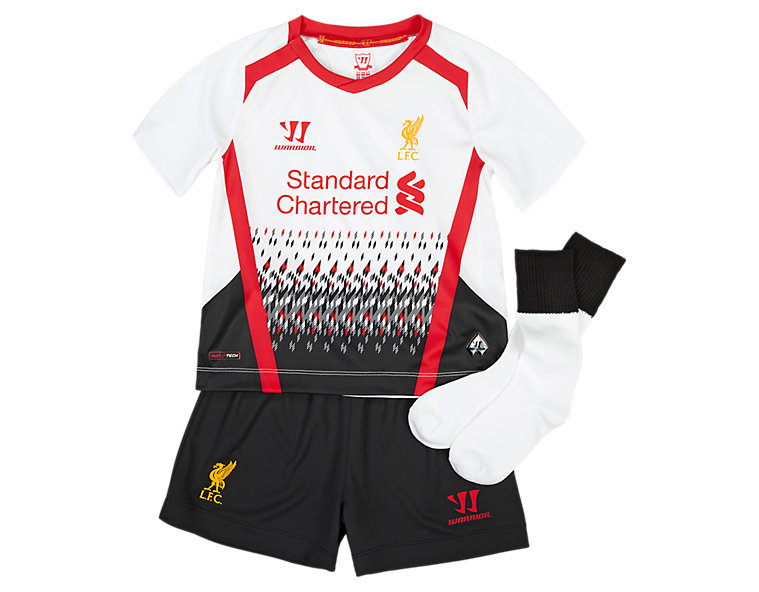 Liverpool Away Infant Kit - Set 2013/14, White with Black & High Risk Red