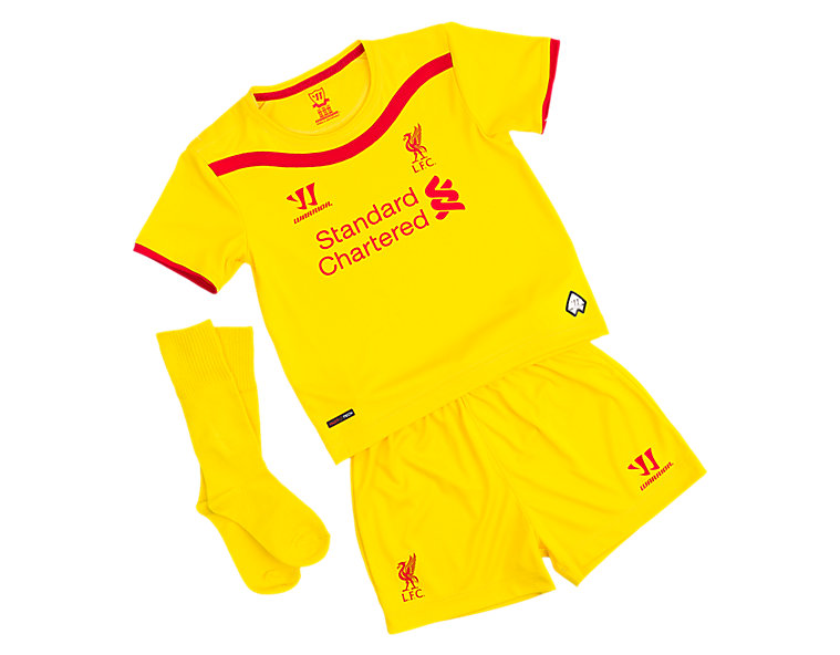 Liverpool Away Infant Set 2014/15, Cyber Yellow with High Risk Red