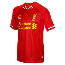 Liverpool Home Junior Short Sleeve Jersey 2013/14, High Risk Red with White & Amber Yellow