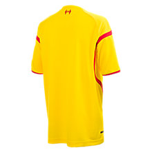 Liverpool Away Junior Short Sleeve Jersey 2014/15, Cyber Yellow with High Risk Red