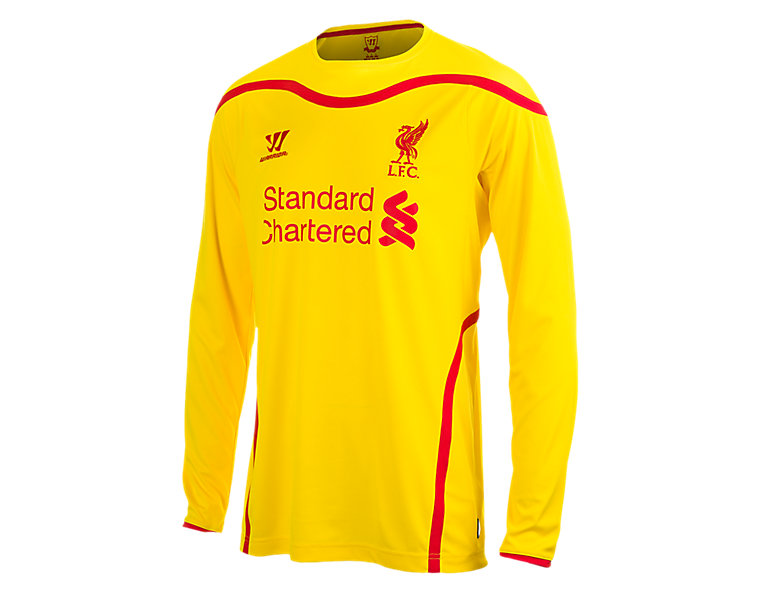 Liverpool Away Long Sleeve Jersey 2014/15, Cyber Yellow with High Risk Red