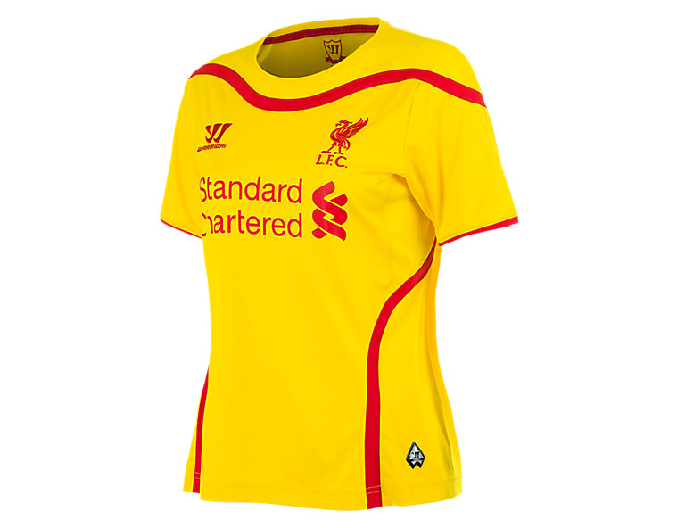Liverpool Away Ladies Short Sleeve Jersey 2014/15, Cyber Yellow with High Risk Red