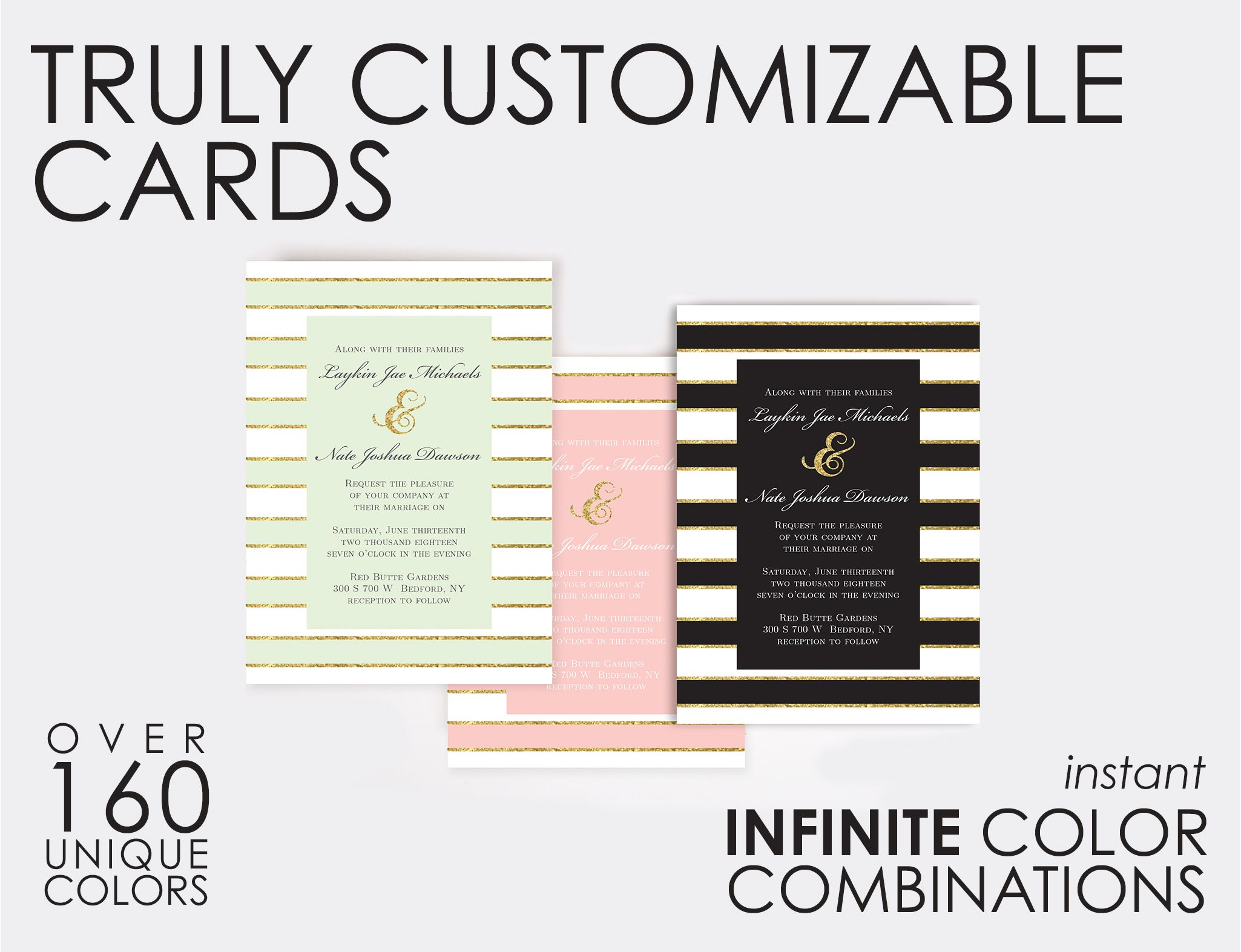 Truly Custom Wedding Invitations.  Over 160 Color Choices.