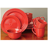 32pc Red/Burgundy Mesa Dinnerware Set