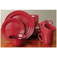 32pc Burgundy/Green Mesa Dinnerware Set