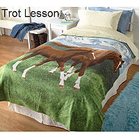 Fleece Blanket - Trot Lesson (Horses)