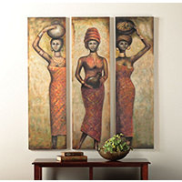 3 Native African Woman Panels