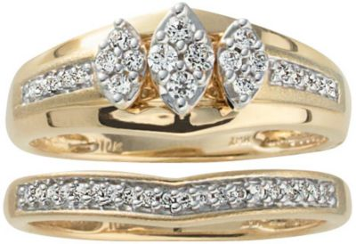 10K Gold 1/4 CT TW Diamond 2pc Bridal Set 5