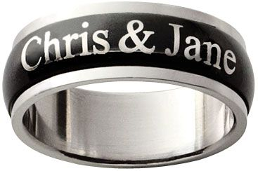 Mens Black Stainless Steel Couples Spinner Ring 9