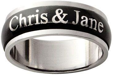 Mens Black Stainless Steel Couples Spinner Ring 9