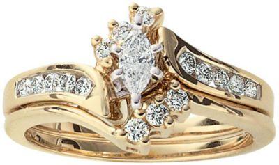 14K Gold 1/2 CT. T.W. Diamond Bridal Set 9