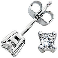 14K White Gold 1/3 ct tw Princess Cut Studs