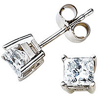 14K White Gold 3/4 ct tw Princess Cut Studs