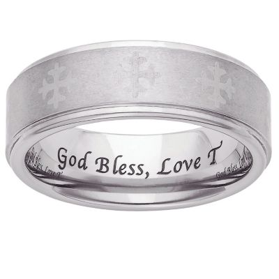 Tungsten Polished & Satin Cross Personalized Band 12