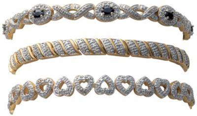 Two-Tone Diamond-Accent 3-Pc. Bracelet Set