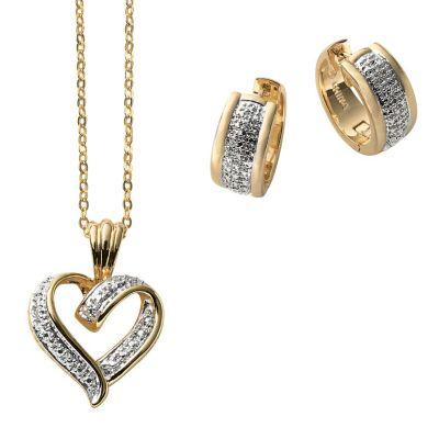 Two Tone Heart Pendant & Hoop Earrings Set