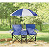 Outdoor Spirit, Chair Set w/Umbrella-Blue