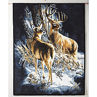 Deer Couple & Puppies Fun Fur Throw