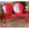 Retro Metal 2-Seat Tulip Glider -Red