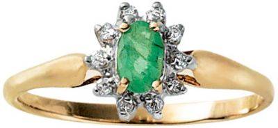 10k Gold Emerald & Diamond Ring 8