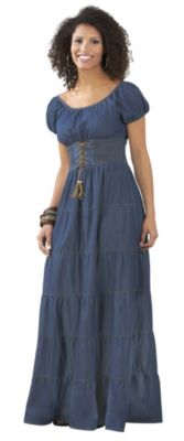 JM Studio Misses Tiered Denim Dress Denim Large $ 59.99