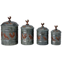 Country Rooster 4pc Canister Set