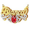 24K Gold Over Silver Oval Birthstone Name Necklace