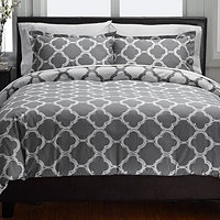 Lyon 300TC Reversible King 3pc Duvet Cover Set