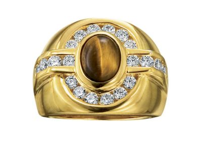 Men's 18K Gold-Plated Silver Tiger's Eye & CZ Ring