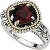 Shey Couture Sterling Silver &14K Gold Garnet Ring