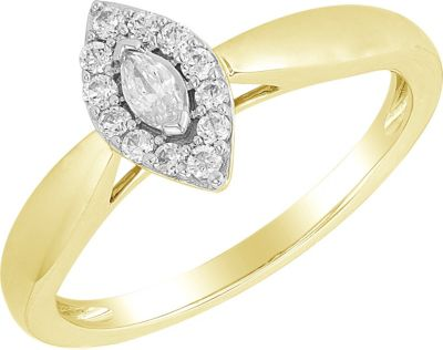 14K Yellow Gold 1/4 ct tw Marquise Diamond Ring 12