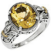Shey Couture Silver & 14K Gold Oval Citrine Ring