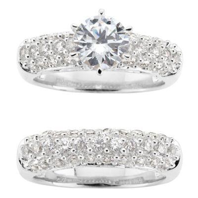 Sterling Silver Round CZ Bridal Set