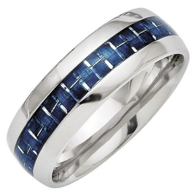 Chisel Steel Blue Carbon Fiber Inlay Ring
