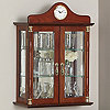Wall Curio Cabinet with Clock Walnut