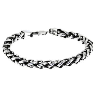 Men's Stainless Steel 7mm Wheat Chain Bracelet