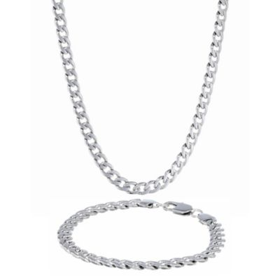 Stainless Steel Curb Link Necklace & Bracelet Set