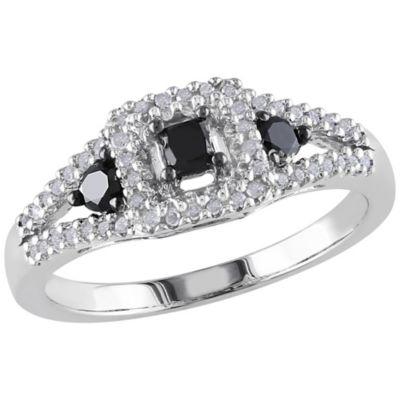 Diamore Silver 1/2 ct tw Black/White Diamond Ring