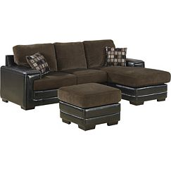 Chocolate Sectional+2 Pillows+Ottoman