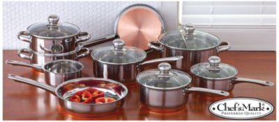 Chefs Mark 14pc Stainless w/Copper Cookware Set $ 129.99