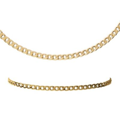 gold link bracelet. 10K Gold Curb Link Necklace