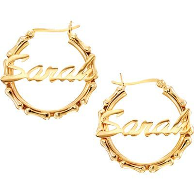 gold hoops with name. Silver Bamboo Name Hoops