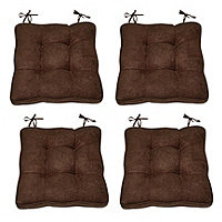 Faux Suede Chair Pads 4pk - Chocolate