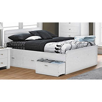 MyHome Bennet Full Bed with 3 Drawers White