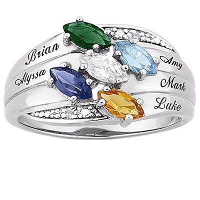 Ladies Sterling Silver Birthstone Family Ring size 5