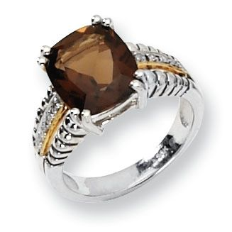 Shey Couture Silver & 14K Gold Smoky Quartz Ring 6