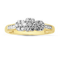 10K Gold 1/2 ct tw Diamond Cluster Ring